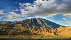Mountain landscape, Teide volcano view, Canary islands, Spain. Time-lapse. Stock Footage