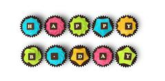 happy birthday cupcakes isolated on white background - stock illustration
