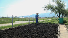 Gardener preparing bio organic cultivated field Stock Footage