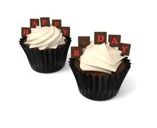 happy birthday cupcakes with on whiteboard with red chocolate letters - stock illustration