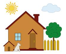 House, dog and tree Stock Illustration