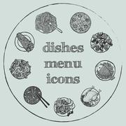Dishes menu hand-drawn icon set Stock Illustration