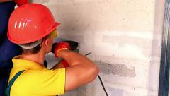 Group people in builder uniform indoor Stock Footage