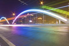 Traffic in bridge of Guangzhou, China. - stock photo