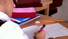 Schoolchild in classroom near blackboard. Stock Footage