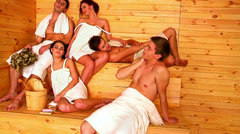 Group people relaxing at sauna. - stock footage