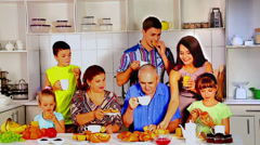 Big happy family have breakfast. Stock Footage