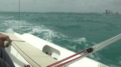 Small sailing boat navigating Stock Footage