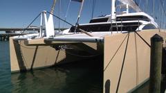 Catamaran docked in Miami Stock Footage