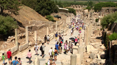 Curetes Street in Ephesus Stock Footage