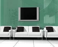 white sofa - stock illustration