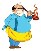 Male Cook Holding a Hot Pan, illustration Stock Illustration