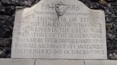 Harrow School  war plaque Stock Footage