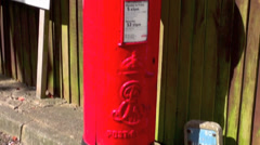 Old Red English Postal box Stock Footage