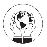 hands gently holding a globe. - stock illustration