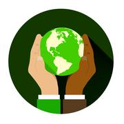 Mix of two different races holding hands globe. Stock Illustration