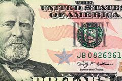 Macro shot of a 50 dollar. portrait of ulysses s. grant as depicted on the bi Stock Photos