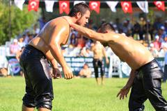Istanbul - august 24: unidentified wrestlers in the 8th sile annual oil wrest Stock Photos
