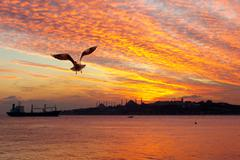 sunset at istanbul. setting sun fired up the sky and bosphorus waters - stock photo