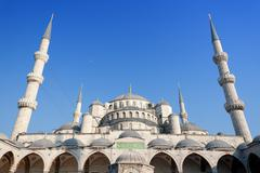 istanbul sultanahmet camii under blue sky in summer time - stock photo