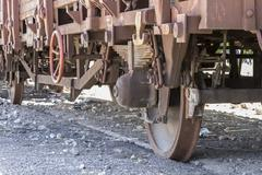 old freight train, metal machinery details - stock photo