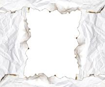 burnt edge paper with space for text on white background - stock photo