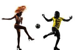 Kaksi Brasilialaiset jalkapallo pelaaja samba tanssija siluetti Kuvituskuvat
