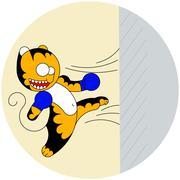 Vector cartoon cute young tiger of martial arts beats a wall Stock Illustration