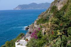 Cliffs in riomaggiore.  cinque terre, liguria, italy Stock Photos