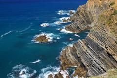 atlantic ocean coast cliff at sardao cape (cabo sardao), alentejo, portugal - stock photo