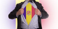 business man with andorran flag t-shirt - stock photo