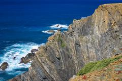 Atlantic ocean coast cliff at sardao cape (cabo sardao), alentejo, portugal Stock Photos
