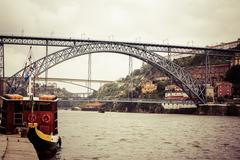 Stock Photo of view of porto in portugal with the famous bridge over the river douro from th