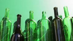 Empty wine bottles fall down Stock Footage
