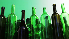 Empty wine bottles Stock Footage