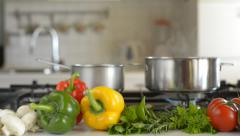 Prepared vegetables for cooking close up dolly shoot Stock Footage