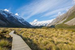 Walking track, mount cook, new zealand Stock Photos