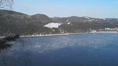 View of the Yenisei River with the mountains - stock footage