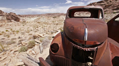 Uranium Badlands Ghost Town Old Rusty Truck Door Open Panning Stock Footage