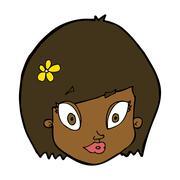 cartoon happy female face - stock illustration