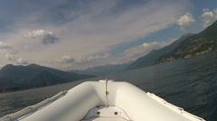 Bow of a navigating maxi rib  Stock Footage