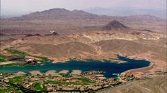 Desert Lake Lush Houses Stock Footage