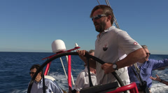 Giovanni Soldini on Maserati sailing boat - stock footage