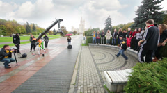 Shooting clip of one band in front of Moscow State University. Stock Footage