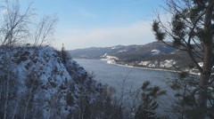 View of the Yenisei River from a cliff. Krasnoyarsk - stock footage