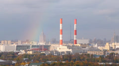 Panoramic view on Moscow city and rainbow at autumn day Stock Footage