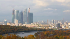 Panoramic view on Moskva river with ship and Business complex Stock Footage