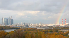 Panoramic view on Moskva river, Business complex Moscow city Stock Footage