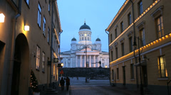 Lutheran Domed Cathedral city buildings Helsinki Stock Footage