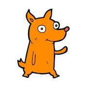 Stock Illustration of cartoon little dog waving